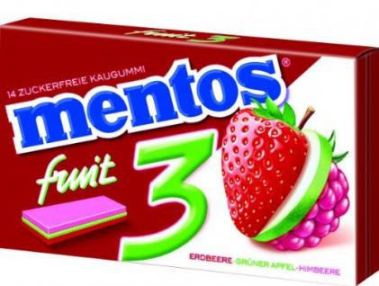 mentos Gum 3 Fruity Fresh Erdbeere Grüner Apfel Himbeere 33g
