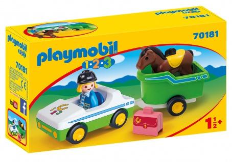 playmobil 123 70181 PKW mit Pferdeanhänger für Mädchen und Jungen