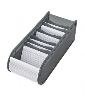 WEDO Lernkartei Karteibox 6 Stützplatten Grau DIN A8 Rollverschluss