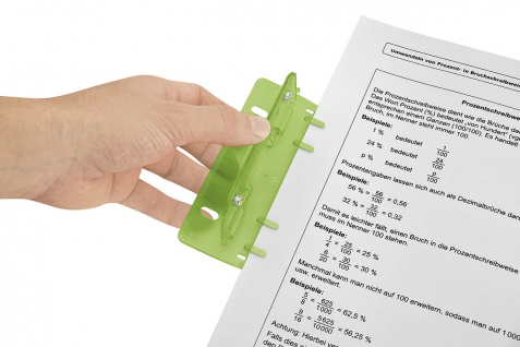 WEDO Taschenlocher Kunststoff Abheften 8cm Lochung mit 12cm Skala Grün