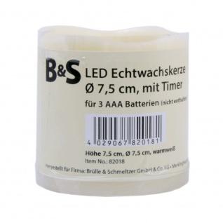 LED Echtwachskerze mit beweglicher LED Flamme 75mm x 75mm warmweiß