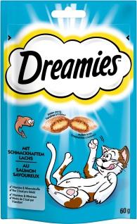 Dreamies mit Lachs für Katzen leckerer Snack im Frischebeutel 60g