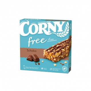 Corny free Schoko Müsliriegel 6x20g mit Milchschokolade 120g