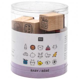 Rico Design Holz Stempel Set natur für Babys enthalten 15 Stempel