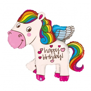 Karaloon Pony Ballon Happy Birthday mit holografischen Effekten