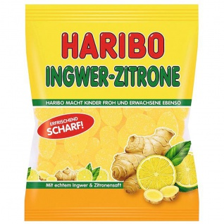 Haribo Ingwer Zitrone scharfes Fruchtgummi mit Geschmack 175g