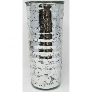 Vase Blumenvase Silber glänzend aus Glas Zylinderform 1 Stück