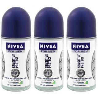 NIVEA DEO Roll on Sensitive blau 50 ml 3er Pack