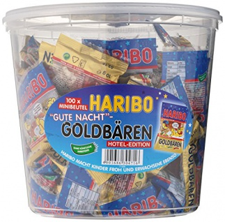 Haribo - 100 Minibeutel Goldbären Gute Nacht, Hotel Edition 1200g