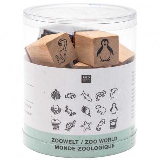Rico Design Acrylfarben Set Stempel aus Holz natur zoologique Welt