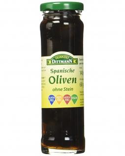 Feinkost Dittmann Spanische Oliven Schwarz ohne Stein 140g 6er Pack