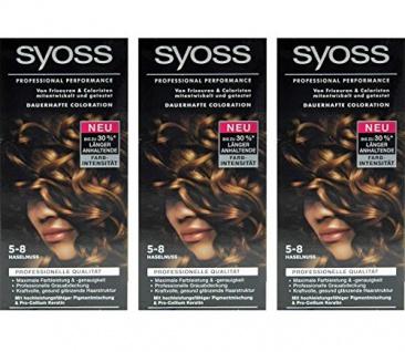 3x SYOSS Haarfarbe 5-8 HASELNUSS - Farbgenaues Ergebnis