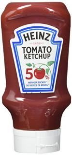 Heinz Tomato Ketchup 50 Prozent weniger Zucker, Kopfsteher-Squeezeflasche, 10er Pack (10 x 400 ml)
