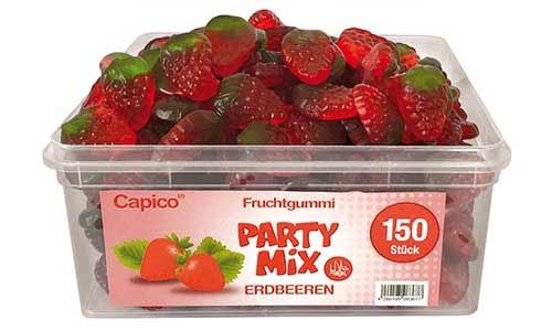 Capico Fruchtgummi Party Mix Erdbeeren, Halal, ohne künstliche Farbstoffe 1050g