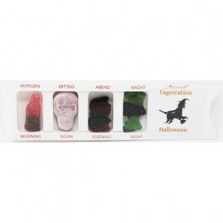 Tablettenbox Halloween Hexe gefüllt mit Fruchtgummi Scherzartikel 25g