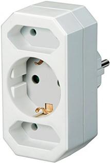 Brennenstuhl Elektronik Adapter Euro2 mit Schutzkontakt Weiß 10x20x20cm 1508050