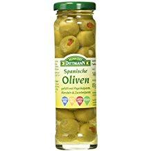 Feinkost Dittmann Spanische Oliven gefüllt mit Paprikapaste, Mandeln und Zwiebelpaste, 3er Pack (3 x 140 g)