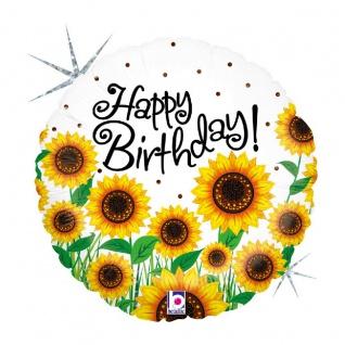 Karaloon Happy Birthday Folienballon ein Meer aus Sonnenblumen