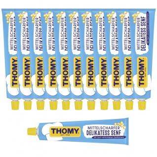 Thomy Delikatess Senf mittelscharf pikant gewürzt Tube 200ml 12er Pack