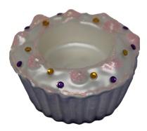 Teelichthalter Kerzenhalter in Form eines Muffins Farbe Lila