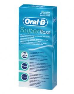 Oral-B SuperFloss 50 Fäden mit Minzgeschmack, 4er Pack (4 x 50 Fäden)