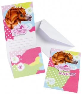6 Einladungskarten Charming Horses 2