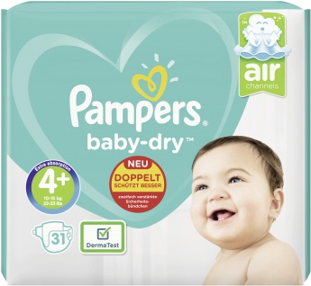 Pampers BABY DRY Windeln Gr.4+ Maxi Plus 10-15kg Sparp. 31ST