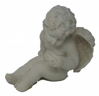 Engels Figur aus Polystone der sitzt und macht eine Kusshand