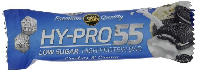 AllStars Hy Pro 55 Bar Cookies und Cream Low Sugar Eiweißriegel 55g