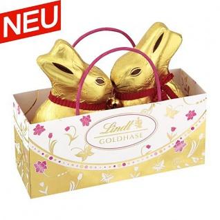 Lindt Oster Gold Goldhasen Hohlfiguren Tasche mit Blumen 100g