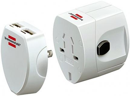 Brennenstuhl Weltreisestecker + USB-Ladegerät, Steckdosenadapter mit 2-fach USB 2.0 (Für: Euro, USA, Australien, England) Farbe: weiß