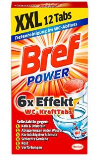 Bref Power WC Kraft Tabs 300g, 4er Pack 10 facher Effekt mit 12 Tabs