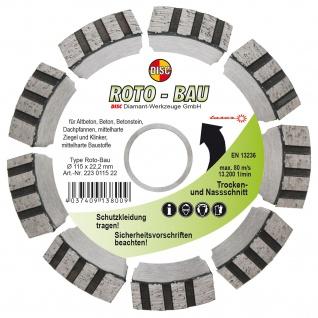 Disc Dia Scheibe Roto Bau für Trocken und Nassschnitt 115x10x22.2 mm