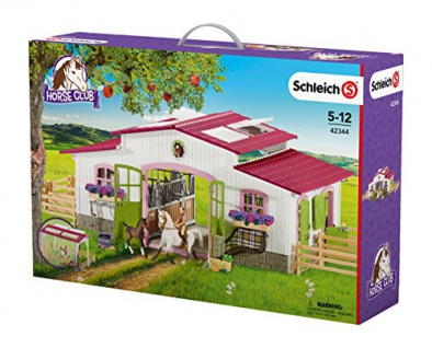 Schleich 42344 - Reiterhof mit Reiterin und Pferden, mehrfarbig