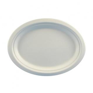 """Papstar 81329 50 Teller, Zuckerrohr """" pure"""" oval 26 cm x 20 cm x 2 cm, weiß"""