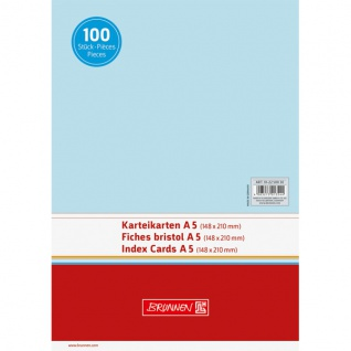 Karteikarten DIN A5 Farbe blau blanko unliniert Inhalt 100 Stück