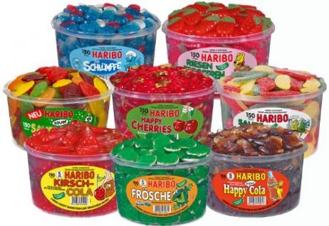Haribo Aktionspaket ein bunter Mix aus verschiedenen Dosen 8 Stück