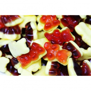 Rote Grütze Bären mit Schaumboden Fruchtgummi als Dessert 1000g