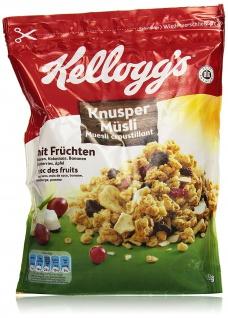Kelloggs Crunchy Müsli Fruit knusprige Cerealien mit Früchten 500g