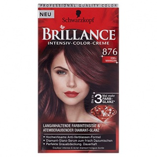 Schwarzkopf Brillance Intensiv-Color-Creme Stufe 3, 876 Edel-Mahagoni, 143, 7 ml