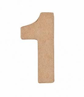 """Pappmache Zahl """" 1"""" stehend zum basteln kreativ Rico Design Idee"""