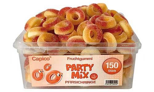 Capico Fruchtgummi Party Mix Pfirsichringe mit Rindergelatine 1050g