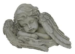 Grabschmuck Engelsfigur Trauerengel mit Spruch auf den Flügeln