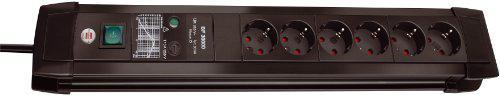 Brennenstuhl Premium-Line, Steckdosenleiste 6-fach mit Überspannungsschutz bis zu 30.000 A (3m Kabel und mit Schalter) Farbe: schwarz