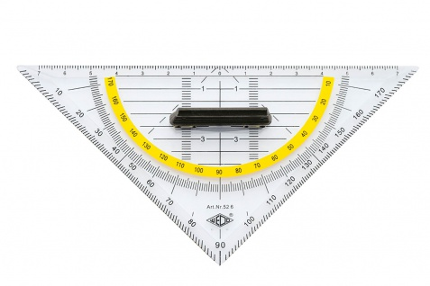WEDO Geometrie Dreieck abnehmbarer Griff Facette Transpaent 16cm
