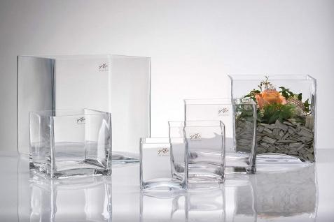 Teelichter Windlicht von Sandra Rich Serie CUBE Glas transparent 14 cm