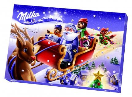 Milka Adventskalender mit weihnachtlichen Figuren aus Schokolade 200g