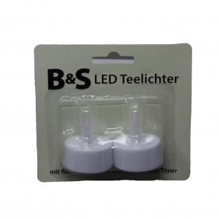 LED Teelichter mit flackernder Flammer Timer warm weiss 2 Stück