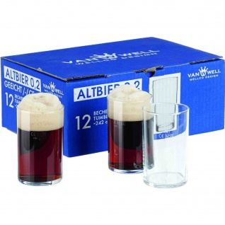 Gerd van Well Altbierbecher Bierglas 200 ml mit Füllstrich 12 Stück