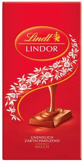 Lindor Milch rot Vollmichschokolade mit zartschmelzender Füllung 100g 6er Pack